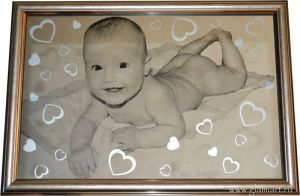Портрет на зеркале Малыш, техника гравюра