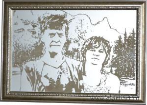 Портрет на зеркале по фото, рисунок