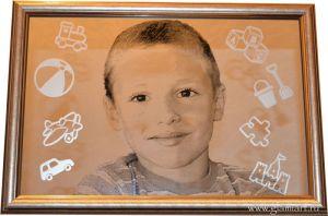 Портрет на зеркале Детство, техника гравюра