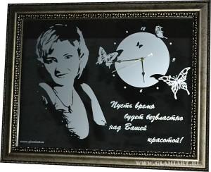 Картина-часы на зеркале, подарок девушке