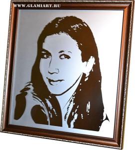 Индивидуальный портрет на зеркале Glamiart, матирование