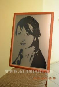 Арт-портрет на зеркале, матирование фона