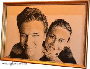 Портрет на зеркале Родные. Гравюра