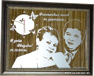 Юбилей свадьбы - семейные часы на зеркале