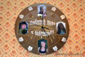 Часы-фоторамка на зеркале Маме