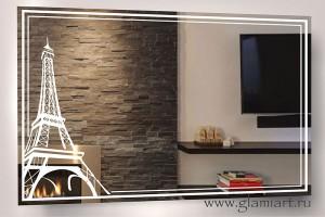 Зеркало с подсветкой Эйфелева Башня