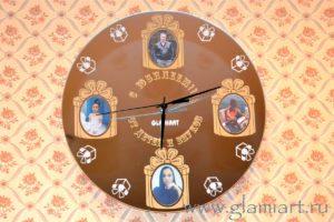 Часы настенные на зеркале С Юбилеем