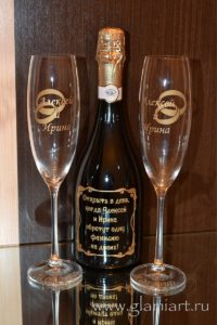 Декорирование бутылок и бокалов к свадьбе