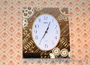 Часы зеркало-дерево GLAMIART